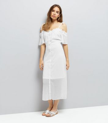 White Spot Chiffon Lace Trim Cold Shoulder Dress New Look