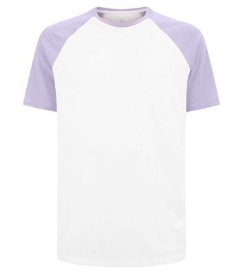 Lilac Short Raglan Sleeve T-Shirt New Look