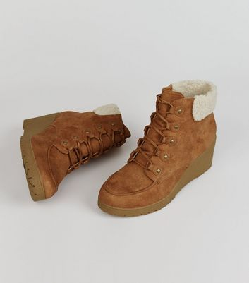 Teens Tan Suedette Shearling Trim Wedge Boots New Look