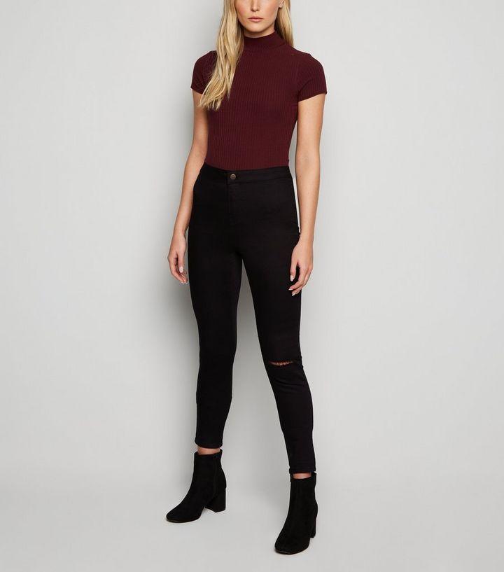 Tall Black Ripped Knee High Waist Super Skinny Jeans  0b8440432