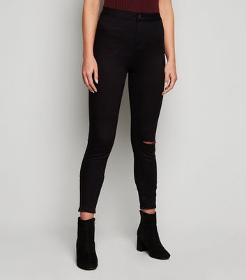 Tall Black Ripped Knee High Waist Super Skinny Jeans New Look
