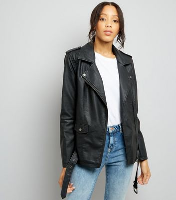 JDY Black Leather-Look Longline Biker Jacket New Look