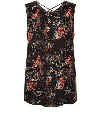 JDY Black Floral Print Cross Strap Sleeveless Top New Look