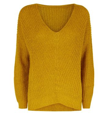 JDY Yellow V Neck Jumper New Look