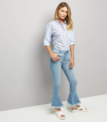 Blue Frill Hem Flared Jeans New Look