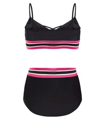 Teens Elastic Stripe Print Bikini New Look