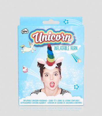 Multicoloured Inflatable Unicorn Headband New Look