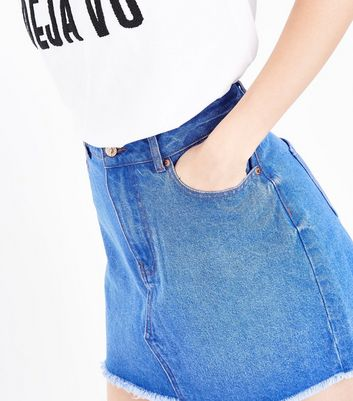 Blue Asymmetric Fray Hem Denim Skirt New Look