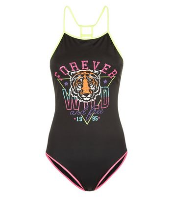 teens-black-tiger-slogan-swimsuit