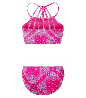 Teens Pink Paisley Print High Neck Bikini New Look