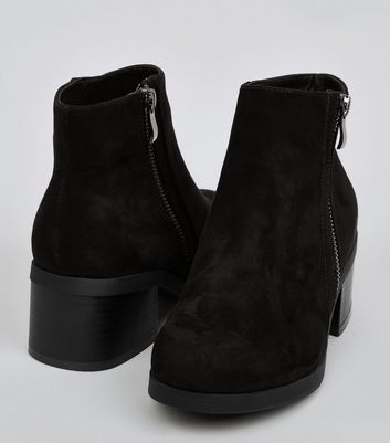 Teens Black Suedette Zip Side Boots New Look