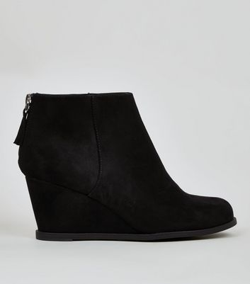 Teens Black Suedette Wedge Heel Boots New Look