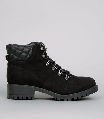 Girls Black Quilted Panel Worker Boots