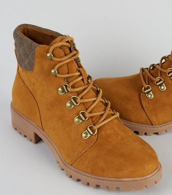 Teens Tan Suedette Lace Up Worker Boots New Look