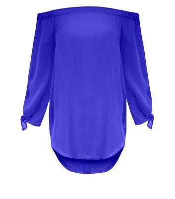 Purple Tie Sleeve Bardot Top New Look