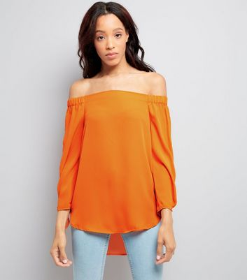 Bright Orange Tie Sleeve Bardot Neck Top New Look