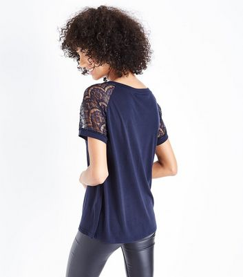JDY Navy Lace Sleeve T-Shirt New Look