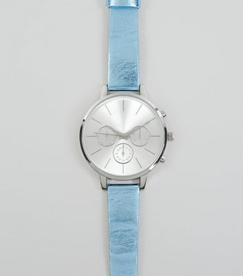 Blue Metallic Strap Watch New Look