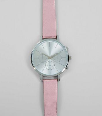 Pink Metallic Strap Watch New Look