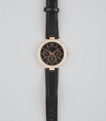 Black Diamante Watch New Look