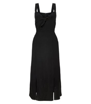 Black Bow Front Split Front Midi Dress New Look
