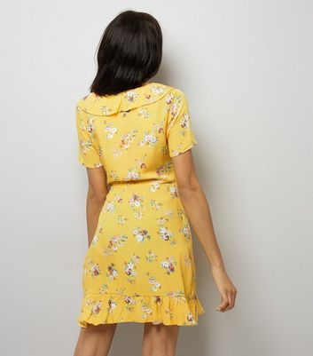 Anita and Green Yellow Floral Print Frill Tea Dress New Look