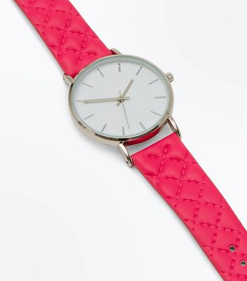 Bright Pink Quilted Strap Watch New Look