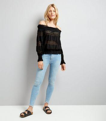Cameo Rose Black Crochet Lace Trim Bardot Neck Top New Look