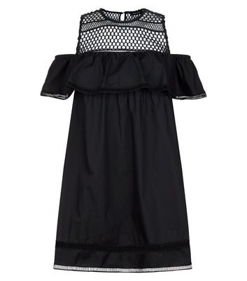 Black Crochet Yoke Cold Shoulder Dress New Look