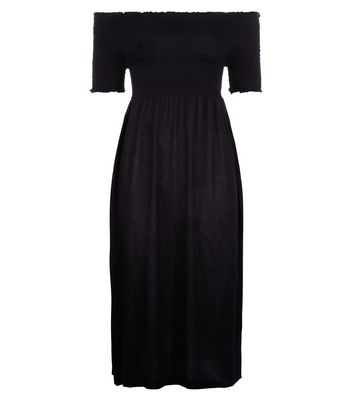 Black Shirred Bardot Neck Midi Dress New Look