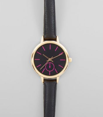 Black Neon Dial Watch New Look