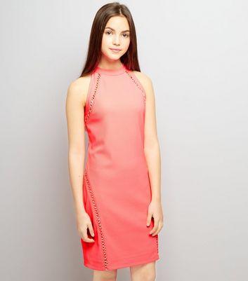 Ados Robe Moulante Orange à Lacets New Look