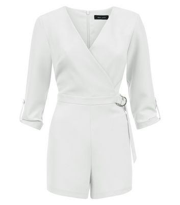 White Wrap Front D Ring Belt Playsuit New Look