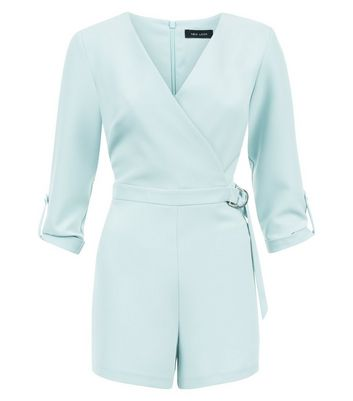 Mint Green Wrap Front D Ring Belt Playsuit New Look