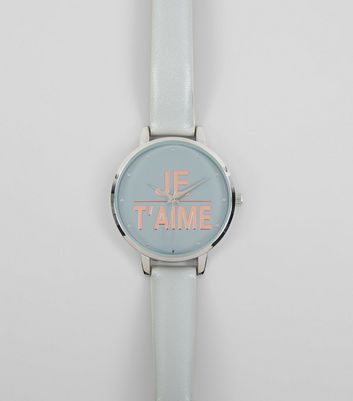 Grey Je Taime Metallic Slogan Watch New Look