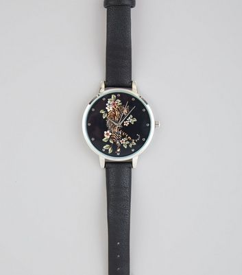 Black Floral Tiger Print Face Watch New Look
