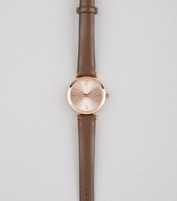 Brown Metallic Face Watch New Look