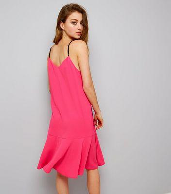 Pink Peplum Hem Midi Slip Dress New Look