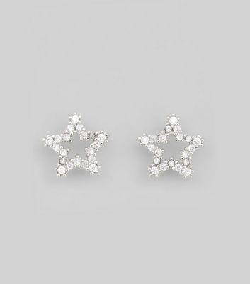 Silver Diamante Star Earrings New Look