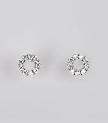 Silver Open Circle Diamante Stud Earrings New Look