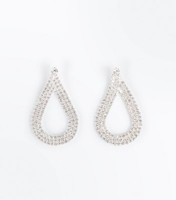 Silver Cubic Zirconia Embellished Teardrop Earrings New Look