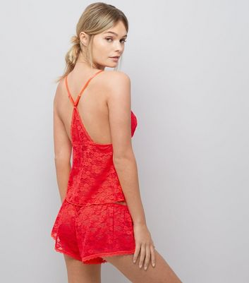Red Lace Cami And Shorts Set New Look