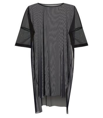 Noisy May Black Mesh Half Sleeve Longline Top New Look