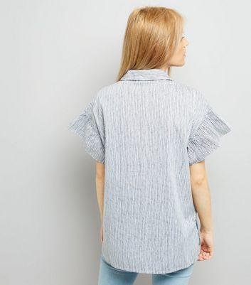 Noisy May White Stripe Frill Short Sleeve Shirt New Look