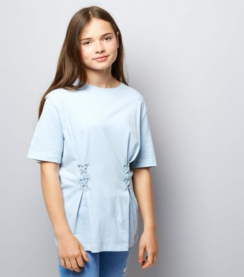 Teens Pale Blue Lace Up Oversized T-Shirt New Look