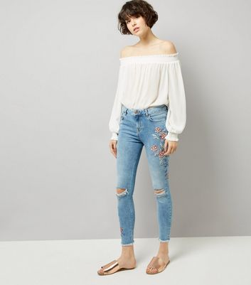 Blue Floral Print Ripped Skinny Jenna Jeans New Look