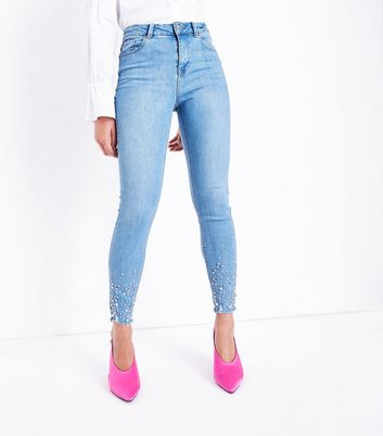 Blue Beaded Raw Hem Skinny Jenna Jeans New Look