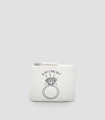 White He Put A Ring On It Zip Top Purse New Look