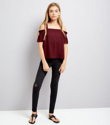 Teens Burgundy Shirred Sleeve Cold Shoulder Top New Look