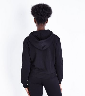 Black Zip Front Hoodie New Look